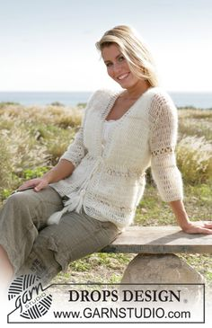 """Free pattern: DROPS Crochet jacket with ¾ sleeves in """"Vivaldi"""" and """"Cotton Viscose"""". Sizes S - XXL"""