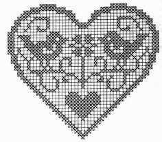 Image of Stitch Chart For Hear Filet Crochet Charts, Knitting Charts, Crochet Motif, Crochet Doilies, Crochet Patterns, Cross Stitch Designs, Cross Stitch Patterns, Cross Stitching, Cross Stitch Embroidery