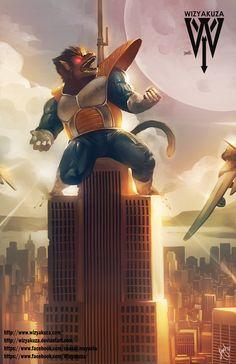 Gran mono Vegeta (Oozaru) - Dragon Ball Z y Rey Kong Crossover - impresión Digital de 11 x 17