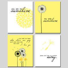 Dandelion Flower Print Set You Are My Sunshine by mysweetmoonbeam, $20.00