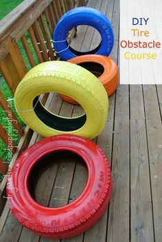 DIY Tire Obstacle Course by FSPDT. {Fun activity for kids of multiple ages. Outdoor playspace for kids}