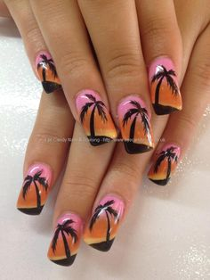 3 colour fade gel polish with freehand palm tree nail art