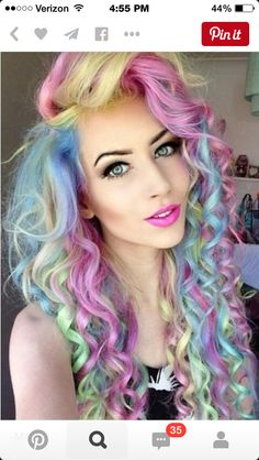 Cotton candy color hair