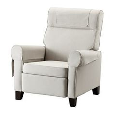 IKEA - MUREN, Recliner, Nordvalla beige, , Adjustable so that you can choose three positions, from upright sitting to reclining.When you lean backwards, the built-in footrest folds out.The high back provides good support for your neck.