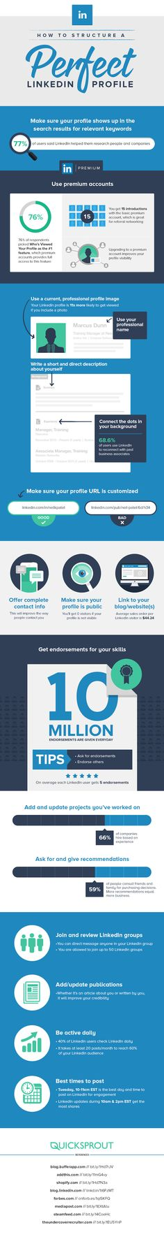 How to structure a perfect linkedin profile [INFOGRAPHIC] #linkedin #profile #infographic