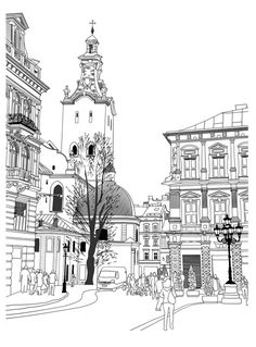 """line Art Church"" Images, Stock Photos & Vectors Colouring Pages, Adult Coloring Pages, Coloring Books, Sketch Note, City Illustration, Urban Sketching, Beatrix Potter, Line Art, Stock Photos"