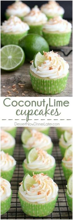 These Coconut Lime Cupcakes are the perfect mix of tropical and citrus flavors, with a lime and coconut cupcake base, coconut cream cheese frosting, and toasted coconut on top! Easy cake recipes for beginners Cake Recipes For Beginners, Easy Cake Recipes, Baking Recipes, Coconut Recipes, Free Recipes, Citrus Recipes, Coconut Desserts, Coconut Lime Cupcakes, Yummy Cupcakes