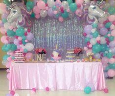 Unicorn Themed Birthday Party, Unicorn Party, First Birthday Parties, Birthday Party Themes, Unicorn Balloon, Aaliyah Birthday, 1st Birthday Girl Decorations, Little Girl Birthday, Party Ideas