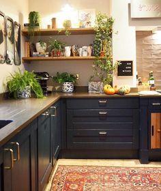 Trendy kitchen paint colors with dark wood countertops butcher blocks Ideas Home Decor Kitchen, Kitchen Interior, New Kitchen, Kitchen Dining, Kitchen Ideas, Kitchen Paint, Apartment Kitchen, Kitchen Wood, Kitchen Colors