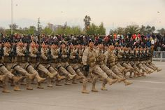Chilean Army special forces troops marching through O'Higgins Park in Santiago at the 2012 Chilean Army Day Parade.