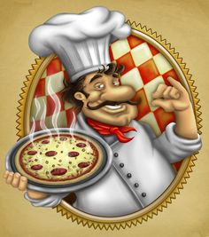Italian Chef holding pizza illustration