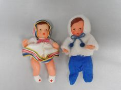 "2 Dollhouse MIniature Rubber Baby Dolls Shackman Vintage Germany Newborn 3"" Tall.  I bought these when I was a little girl at Paul Bunyan land for .69 each!"