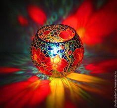 """Авторский подсвечник """"Орхидеи"""" - ярко-красный,подсвечник,подсвечники,подсвечник из стекла"""