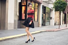 Love the volume in this pleated skirt! The stripe placement on the shirt is very nice too.