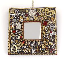 Hearts and Roses Jeweled Mosaic Mirror Handmade by Nostalgianmore,