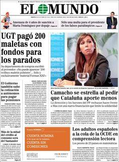 Los Titulares y Portadas de Noticias Destacadas Españolas del 8 de Octubre de 2013 del Diario El Mundo ¿Que le pareció esta Portada de este Diario Español?
