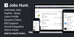 Jobs Hunt - The Job Portal . Jobs has features such as High Resolution: No, Compatible Browsers: IE8, IE9, IE10, IE11, Firefox, Safari, Opera, Chrome, Edge, Software Version: PHP 5.5, PHP 5.6, MySQL 5.x