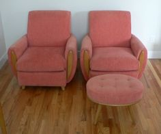 Pair of Heywood Wakefield Crescendo Arm Chairs With Ottoman