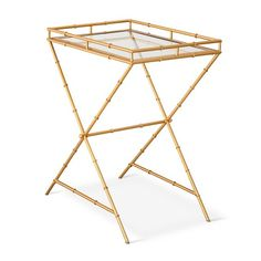 Target Threshold Gold Bamboo Motif Accent Table