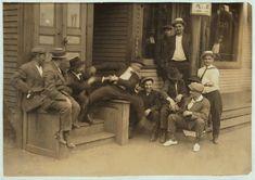 Hanging Around the Saloon - 5 p.m.  Chicopee Falls, Massachusetts, 1916 (Lewis Hine).