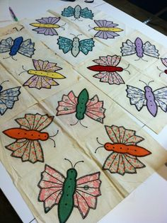 Butterfly quilt blocks, hand sewed and appliquéd by my grandmother, Agnus.