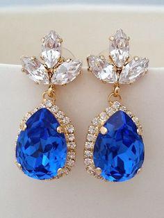 Sapphire blue Chandelier earringsRoyal blue earringsDrop