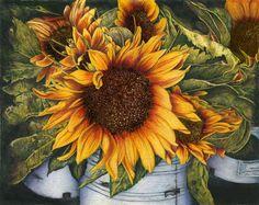 Sunday Market Sunflowers, Vanschaick, Colored Pencil, http://coloredpencilmag.com/wp-content/uploads/2013/09/Vanschaick_SundayMarketSunflowers.jpg: