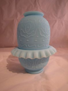 Vintage Fenton Satin Blue Fairy Lamp