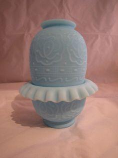 Vintage Fenton Satin Blue Fairy Lamp