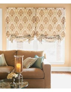 Casual Roman Fabric #Shade in Opulent #Damask/ Bronze 13928 with Decorative Detail, Clear Glass Bead 13996