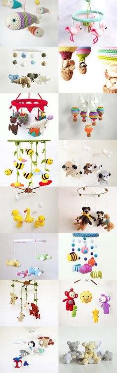Crochet baby mobile inspiration baby mobile maRRose - CCC: Treasury Tuesday, Crochet Baby Mobiles by Marianne Dekkers-Roos on Etsy Crochet Baby Mobiles, Crochet Mobile, Crochet Baby Toys, Crochet Amigurumi, Amigurumi Patterns, Crochet Dolls, Baby Blanket Crochet, Love Crochet, Crochet For Kids