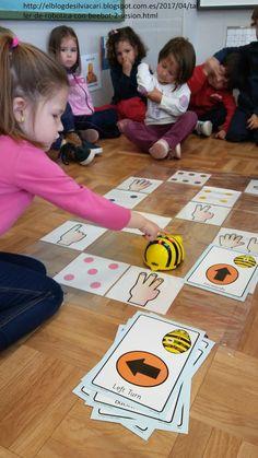 Seguimos profundizando en el manejo de Beebot. En este caso, continuamos jugando con el dado y las cifras del 1-6 pero con una diferencia:... English Activities, Activities For Kids, Preschool Letter B, Stem Robotics, Stem Classes, Kindergarten Centers, Coding For Kids, Digital Literacy, Dado