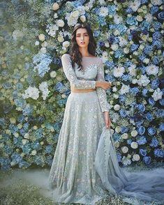 Designer Dresses in beautiful colors Indian Bridal Outfits, Indian Designer Outfits, Designer Dresses, Glam Look, Blue Lehenga, Lehenga Style, Lehenga Choli, Indian Gowns Dresses, Bridal Blouse Designs