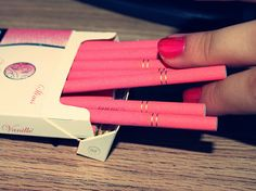Arome Vanille cigarettes are produced in Austria, and their PINK!    (via tickettoparis)