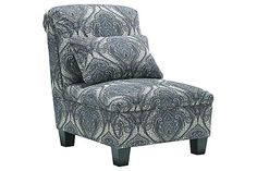 """The Navasota Armless Chair from Ashley Furniture HomeStore (AFHS.com). The """"Navasota-Charcoal"""" upholstery collection features a soft chenille upholstery fabric surrounding beautifully rolled arms adorned with nail head accents along with plush pillow back cushions to create the perfect Traditional Classic furniture to enhance any living room décor."""
