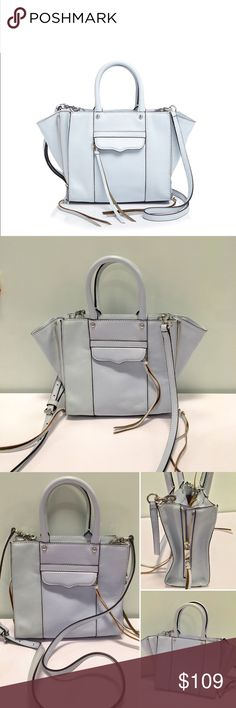 "Rebecca Minkoff Side Zip MAB Tote Mini Crossbody Color: Bleached Blue (light baby blue) with silver-tone hardware. Condition: new without tags. No dustbag. Never before used or worn. No blemishes or markings. Genuine leather. 8"" H x 7.25 W x 3.5"" D. Top handles with 4.5"" drop. Removable 22"" strap drop. One interior slip pocket.  Original retail: $225 + tax. An updated take the best-selling MAB tote! Side zips to expand the bag.  *Scale shot in 4th pic taken from Rebecca Minkoff site. Black…"