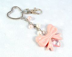Lolita Pink Bow Heart Keychain Kawaii Key Chain by aLilBitOfCute, $9.00