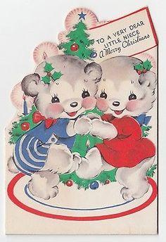 Vintage Christmas Card (1940's ) Cute Die-Cut Bi-Fold Patriotic Bears