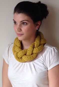 Hand Knit Braided Necklace Cowl Infinity Scarf by BoPeepsBonnets on Etsy