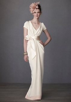 Chiffon V-Neck A-Line Simple Wedding Dress with Cap Sleeves