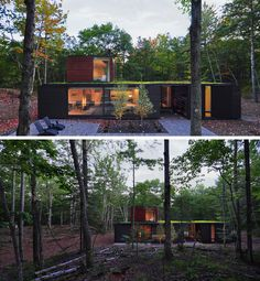 18 Modern House In The Forest // Large trees surround this home with green roof located deep within the forest.