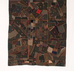 Folk Art Wool Crazy Quilt - love the little square of red near the top.