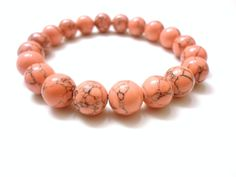 Coral Bracelet Dyed Coral Magnesite Bead by SoBlessedMomCreation