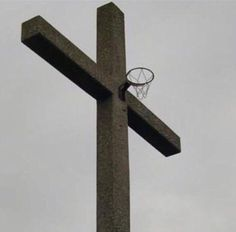 #photo #cross #basketball #basketballbasket #crucifix #religion #christianity #jesuschrist #sport #jesus #faith #blasphemy #sportgame #society #postmodern #jpg #postmodernjpg