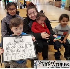 Mother with children caricature portrait in marker, get your caricature drawing today call artist Marta Sytniewski at 773-574-7767 or email FunnyAndCuteCaricatures@gmail.com  #Caricaturedrawing #Markercaricature #Markerdrawing #Motherwithchildrencaricature #MartaSytniewski Caricature Drawing, Caricatures, Markers, Portrait, Children, Drawings, Day, Funny, Artist