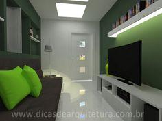 Sala pequena com truque para ampliar o espaço. http://dicasdearquitetura.com.br/sala-pequena-e-estreita/
