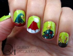 Christmas Nails. More at quirkylacquerista.wordpress.com