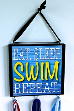 Swim Medal Holder is ready to hang for your favorite swimmer. Great for boys and girls. Its their life! Display their great accomplishments with Gifts For Boys, Girl Gifts, I Love Swimming, Swimming Funny, Swim Team Shirts, Swimmer Quotes, Swim Mom, Medal Holders, Water Polo