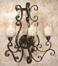 ME2235 - Bronze Iron Three Light Acanthus Wall Sconce - Candle Holder