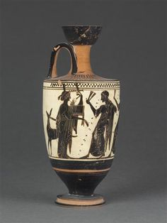Lécythe à fond blanc : Apollon et les Muses. Vers 500 av J.-C. Auteur : Peintre de Sappho (début 5e siècle av J.-C.). Tanagra (site) (origine). Paris, musée du Louvre